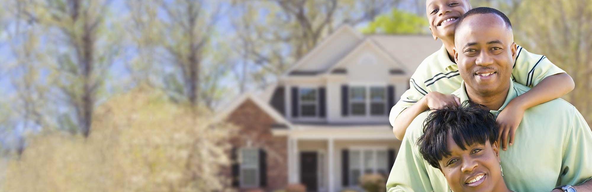 family-outside-house